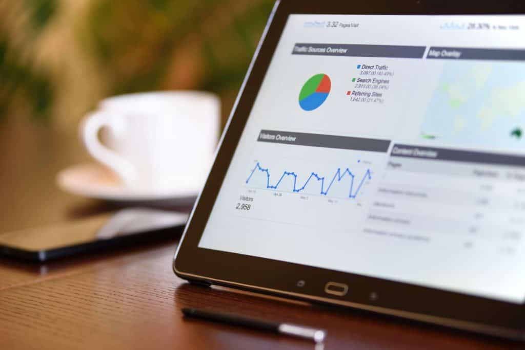 data analytics on tablet screen